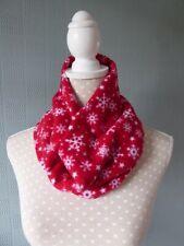 red fleece snood, loop scarf, red cowl scarf, fleece neck warmer, snowflakes