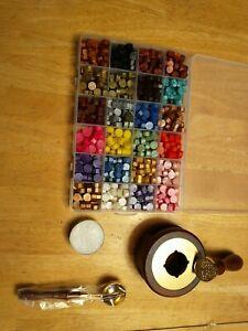 Wax Seal Kit 300Pcs Sealing Wax Beads with Wax Seal Stamp, Tea Candles