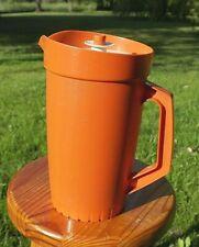 TUPPERWARE : Pichet Rétro Vintage Orange, avec Couvercle Blanc/Beige piston