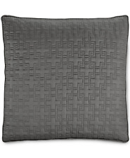 Hotel Collection Embroidered Frame Cotton Quilted Euro Pillow Sham Charcoal $120