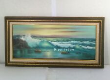 Vintage original oil painting. Seascape in turquoise. Lillian Clark. Panoramic.