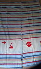 "Mothercare 44"" x 52"" tab top curtains boys bedroom car signage blue red road"