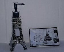 "Paris Eiffel Tower ""Paris Stamps"" Ceramic Soap/Lotion Dispenser & SoapDish"