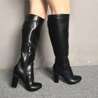 Women Ladies Block High Heel Knee High Boots Big Size Riding Side Zip Black Shoe