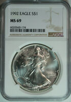 1992 NGC MS69 Mint State Gem BU UNC US 1 Troy Oz .999 Silver American Eagle Coin