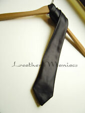 black REAL LEATHER neck tie necktie cravat
