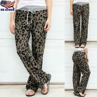 Women Leopard Print Casual Trousers Ladies High Waist Lace Up Long Pants Bottoms