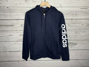 Adidas Navy Blue Essential Linear Full Zip Hoodie Jacket Womens Size Large NWT