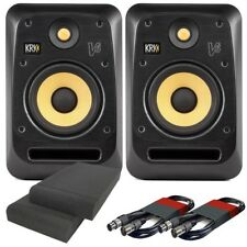 KRK V6S4 Black Active DJ Studio Monitors (Pair) with Isolation Pads and Cables