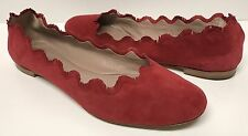 Chloe Fringe Scalloped Suede Ballerina Flat Red Size 38.5 EU 8.5 US  (SOLD OUT)