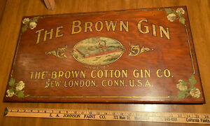 c1910 Meyercord Sign BROWN COTTON GIN New London Connecticut Factory Scene! old