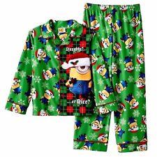 Nwt Despicable Me Minions Boys 4 Christmas Santa Flannel Pajamas Set 2 piece Pjs