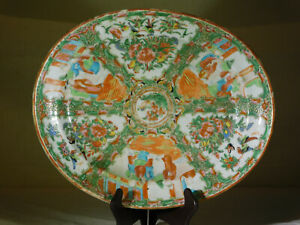 """Large"" Chinese Qing Dy Canton Hand Painted Rose Medallion Serving Platter"