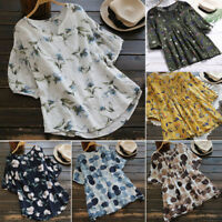 Plus Size Summer Womens Boho Floral Short Sleeve T Shirt Casual Loose Blouse Top