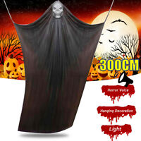 Voice Light Props Scary Skull Ghost Curtain Halloween Hanging Decorations A
