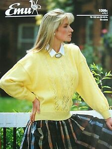EMU 1098 - LADIES 4PLY LACY SWEATER KNITTING PATTERN 30/40in