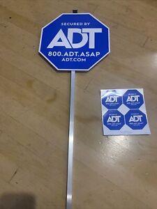 NEW ADT SECURITY ALARM YARD SIGN & 4 STICKERS WATERPROOF & UV RESISTANT