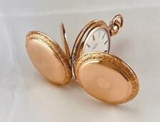 1896 ELGIN 15 JEWELS Pocket Watch in 14K GOLD FILLED HUNTER CASE - 6s - RUNS