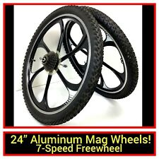 "24"" Bicycle Black Aluminum Mag Wheel Set Front Rear 7-Speed, Tires Bike #j56"