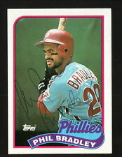 Phil Bradley--Autographed 1989 Topps Baseball Card--Philadelphia Phillies