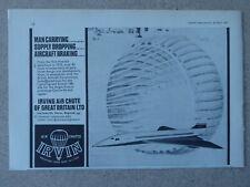 4/1967 PUB IRVIN IRVING AIR CHUTE BRAKE PARACHUTE BAC CONCORDE ORIGINAL AD