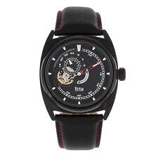 Reign Astro Semi-Skeleton Leather-Band Watch - Black