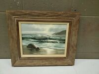 Roberta H Clair Signed Framed Oil Painting Labdscape Seascape Beach Waves Ocean