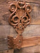 Vintage carved wood ornate keyholder key hook