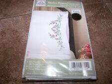 "Tobin Stamped Pillowcases MEADOW FLOWERS  for Embroidery 20"" x 30"" 1 Pair"