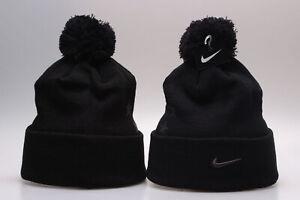New Nike Arcylic Winter Knit Beanie Cuffed POM Adult Unisex One Size - Black