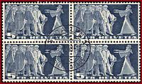 Schweiz 1942 Symbolische Darstellungen 5 Fr, VB m.Zentrumstempel Mi 329w, Z 218w