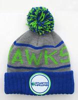 Atlanta Hawks Grey On Green Cuffed Beanie Winter Cap Hat Authentic
