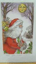 Authentic Signed Rachel Badeau Framed Etching Print Father Christmas #381/400