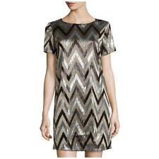 NWT Michael Kors Zigzag Sequin Shirtdress, Black Metallic and Silver size 10
