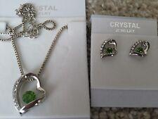 Silver green Fashion Crystal Pendant Necklace Earrings  heart Set nickel free