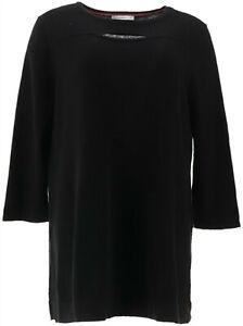 Isaac Mizrahi 3/4 Slv Sweater Keyhole Neck Black M NEW A343206