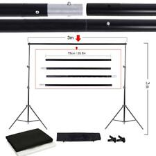 Photo Studio Kit Set Backdrop Stand with Storage Bag Black White Nonwoven S7L0