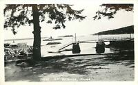 Bayville ME~RPPC Long Dock & Ramp~Trellis Flowers~Boats & Islands~1940s Postcard