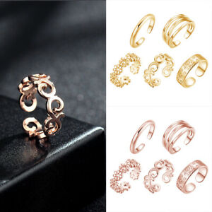 5Pcs Retro Jewelry Copper Silver Rose Gold Adjustable Open Toe Ring Finger Foot
