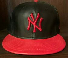 NEW ERA NEW YORK YANKEES FITTED HAT BLACK RED CAP 59FIFTY LEATHER MEN