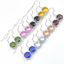 New Round Cut 8 pcs 1 lot Rainbow Topaz Peridot Morganite Silver Danlge Earrings
