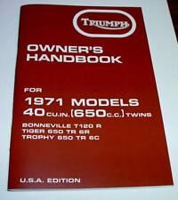 1971 Triumph T120, Bonneville, Tiger, Trophy. OIF, OEM, OWNERS HANDBOOK, NEW