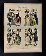1880 Braun Costume Print  French Dress Louis XVI Era prior tp Revolution France