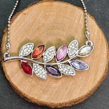 Silver Plated Multi Coloured Crystal And White Rhinestones Leaf Pendant Necklace