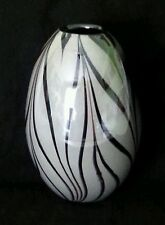 Large hand blown Zebra stripes black & white studio art glass vase #1,  9 inches
