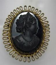 ANTIQUE VICTORIAN MOURNING REVIVAL BRASS & BLACK JET GLASS CAMEO PIN BROOCH