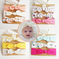3Pcs Newborn Headwear Cotton Elastic Baby Print Floral Hair Band Girls Bowknot
