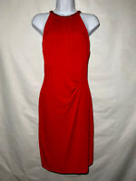 NWT CACHE Red Gold Chain Neck Sheath Dress Size M $148