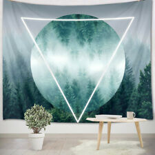 Geometric Pattern Fog Pine Forest Tapestry Wall Hanging Living Room Bedroom Dorm