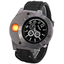 Lighter Watch Cigarette Usb Led Men Rechargeable Windproof Flameless Military